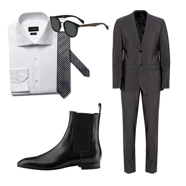 Camisa (R$ 1.720) e gravata (R$ 820) Ermenegildo Zegna, óculos Hugo Boss (R$ 1.097,80), bota Christian Louboutin (R$ 4.460), blazer (R$ 259,90) e calça (R$ 129) Renner (Foto: Divulgação)