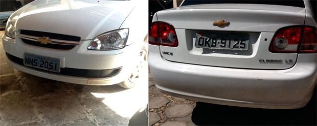 Segundo a polícia, as duas placas do veículo apreendido foram adulteradas (Foto: Kléber Teixeira/Inter TV Cabugi)