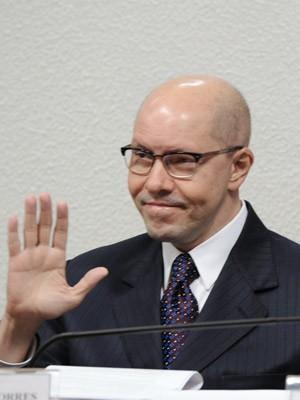 O senador Demóstenes Torres durante depoimento do Conselho de Ética (Foto: Agência Senado)