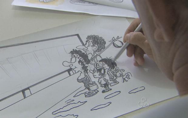 Exposição de charges e caricaturas em Macapá (Foto: Reprodução/TV Amapá)
