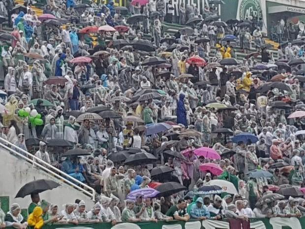 Torcedores aguardaram chegada dos corpos sob forte chuva na Arena Condá (Foto: Janir Júnior/Globoesporte.com)