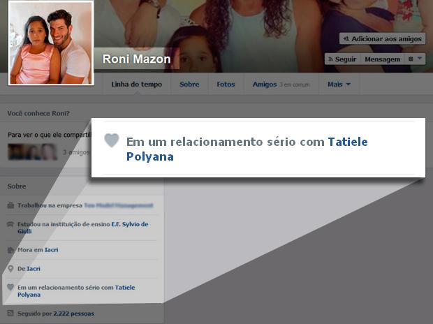 Roni já se considera namorando Tatiele (Foto: Reprodução/Redes sociais)