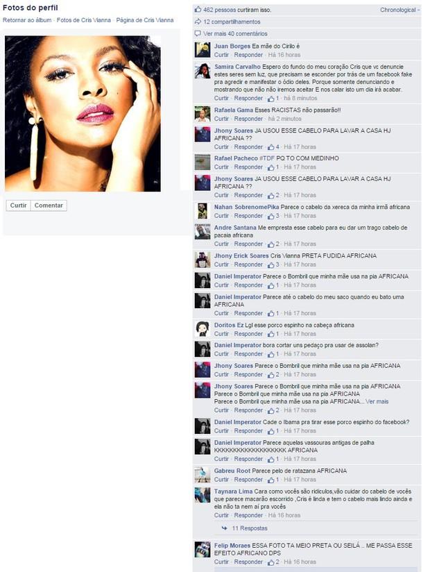 Comentários no perfil da Cris Vianna (Foto: Facebook / Reprodução)