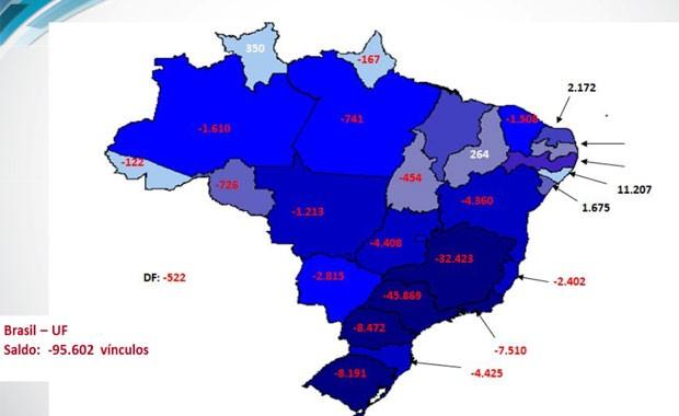 Mapa do Ministério do Trabalho mostra o saldo de demissões e contratações por estado no mês de setembro (Foto: Divulgação) (Foto: Divulgação)