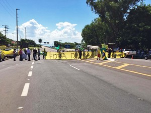 Protesto é contra a nomeação do ex-presidente Lula para ministro (Foto: Katiuscia Reis/TV Fronteira)