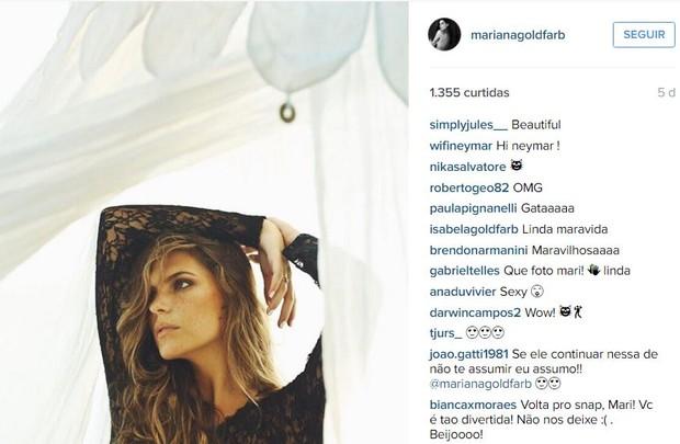 Seguidores de Mariana Goldfarb comentam sobre Cauã Reymond (Foto: Instagram / Reprodução)