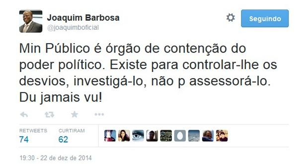 No Twitter, Joaquim Barbosa diz que Ministério Público não presta assessoria para Dilma (Foto: Reprodução / Twitter)