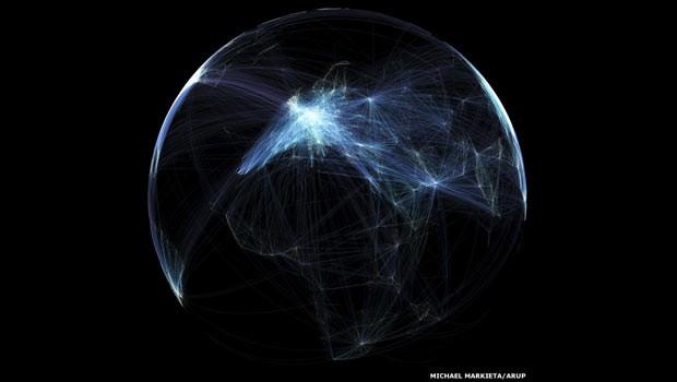 Rotas de aviões recriam mapa-múndi (Foto: Michael Markieta, GIS Consultant, Arup. Dados do openflights.org)