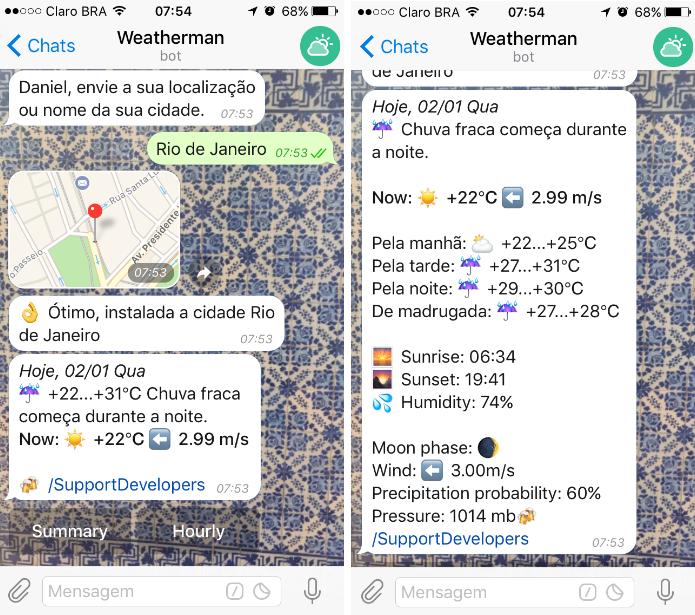 @Wheatherman_bot é ideal para conferir e compartilhar a previsão do tempo (Foto: Reprodução/Daniel Ribeiro)
