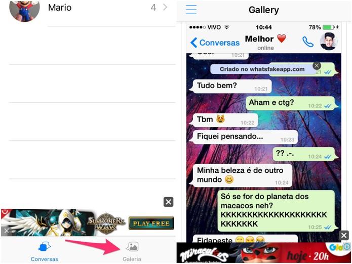 Galeria de conversas falsas do WhatsFake (Foto: Reprodução/Lucas Mendes)