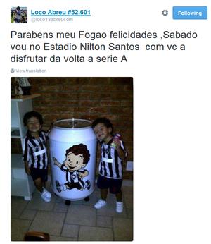 Loco Abreu diz que irá ao jogo no sábado (Foto: Reprodução/Twitter)