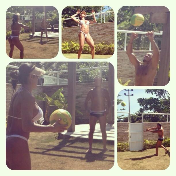 Gracyanne e Belo jogam vôlei (Foto: Reprodução/Instagram)