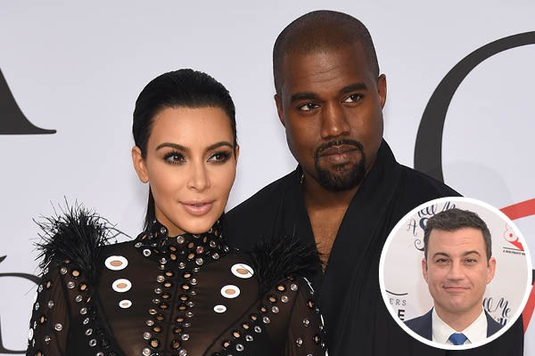 Kim Kardashian, Kanye West e Jimmy Kimmel (Foto: Getty Images)