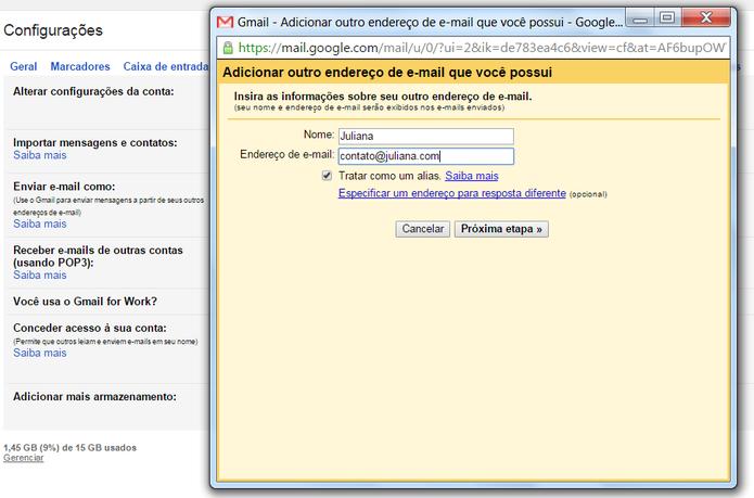 Você pode enviar e-mail com seu domínio próprio através do Gmail  (Foto: Reprodução/Juliana Pixinine)