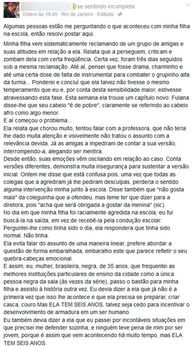 Post de Andressa foi muito compartilhado nas redes sociais (Foto: Reprodução / Facebook)