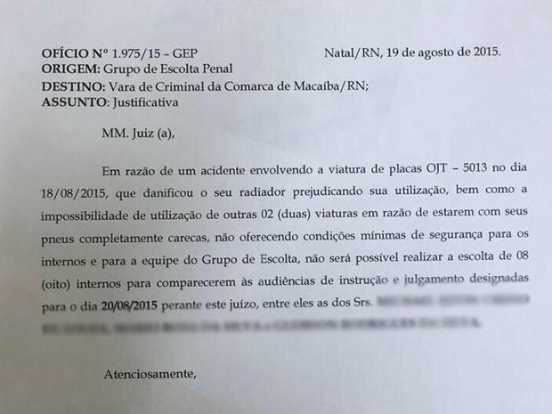 Ofício justifica ausência de presos em Macaíba por pneus carecas de carros (Foto: Reprodução)