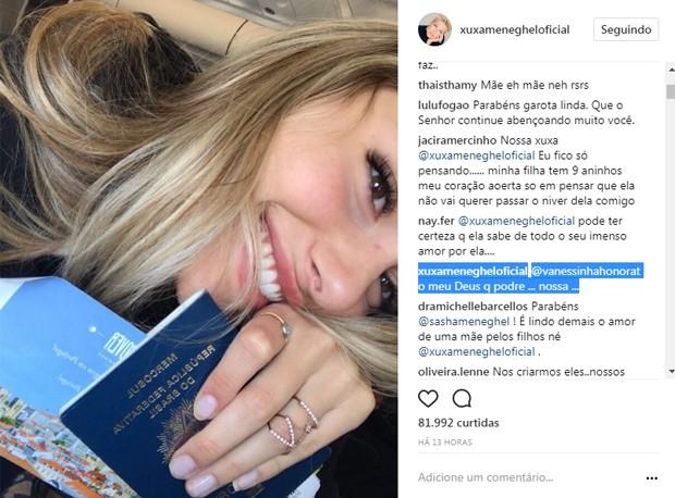 Seguidora de Xuxa critíca Sasha e apresentadora defende a filha (Foto: Reprodução/Instagram)