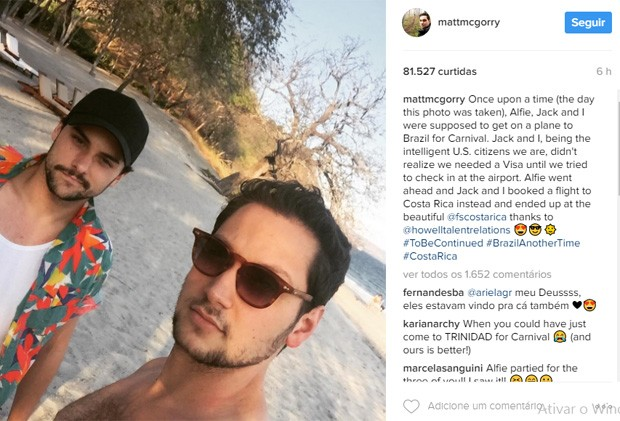Os atores Jack Falahee e Matt McGorry da série 'How to Get Away With Murder' (Foto: Reprodução/Instagram)