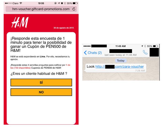 Esquema distribui mensagens prometendo descontos. Links levam a anúncios falsos, que buscam coletar dados pessoais do usuário (Foto: Divulgação/Kaspersky)