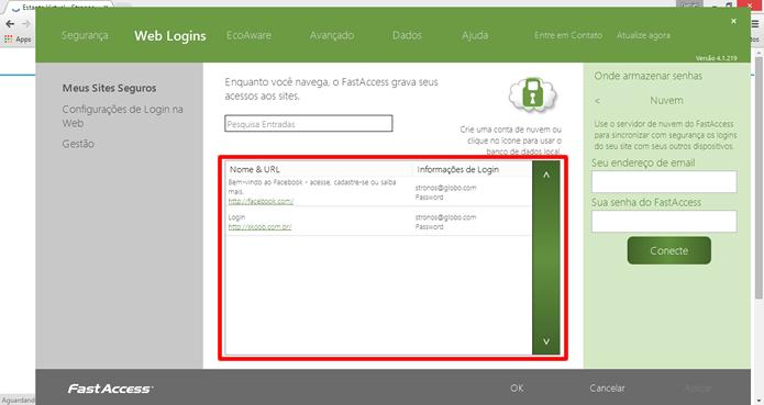"""Todos os logins registrados ficaram armazenados na opção """"Web Logins"""" no programa do FastAccess (Foto: Daniel Ribeiro / TechTudo)"""