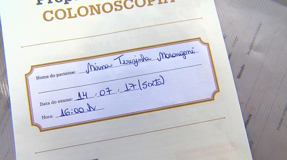 Colonoscopia de Mirna Terezinha Marangoni foi marcada para sexta-feira (14) em Ribeirão Preto (Foto: Reprodução/EPTV)