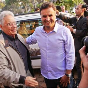 O ex-presidente Fernando Henrique Cardoso e o candidato Aécio Neves (PSDB) unidos contra Marina (Foto: Orlando Brito/Divulgação)