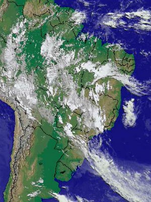 Previsão é de tempo abafado, com pancadas de chuva na maior parte do país (Foto: Reprodução/Cptec/Inpe)
