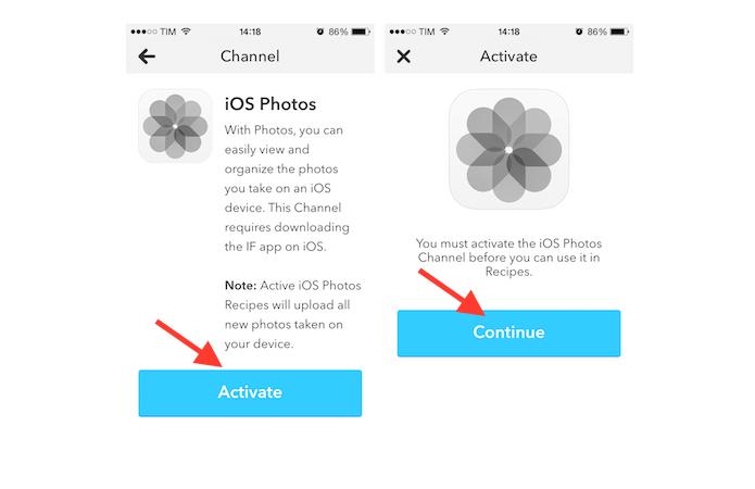 Iniciando a ativação do canal da biblioteca de fotos do iOS no IFTTT pelo iPhone (Foto: Reprodução/Marvin Costa)