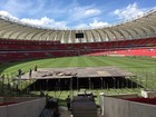 Palco para os Rolling Stones começa a ser montado em Porto Alegre; veja