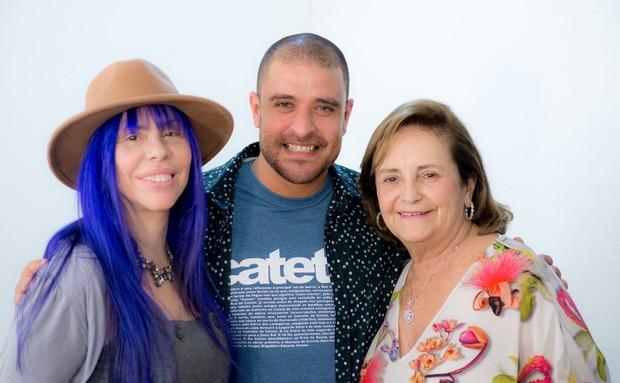 Baby do Brasil, Diogo Nogeuria e Lucinha Araújo, mãe do cantor Cazuza (Foto: Divulgação/Marcos Hermes)