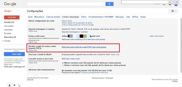 """Clique em """"Adicionar uma conta de e-mail POP3 que você possui"""" (Foto: Reprodução/Juliana Pixinine)"""