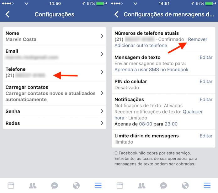 Procedimento para remover o telefone atual cadastrada ao Facebook (Foto: Reprodução/Marvin Costa)