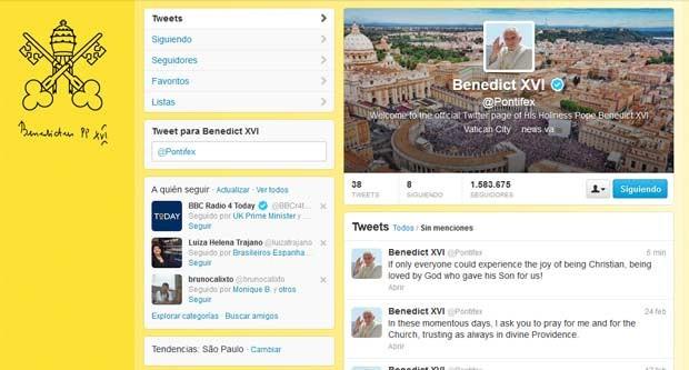 Reprodução da conta @pontifex, do Papa Bento XVI no Twitter, nesta quarta-feira (27) (Foto: Reprodução)