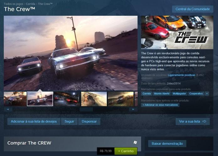 Página de The Crew no Steam (Foto: Reprodução/André Mello)