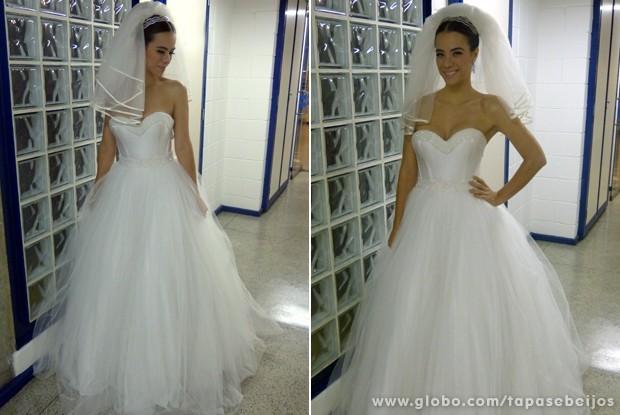 O look de noiva campeão da enquete (Foto: Tapas & Beijos / TV Globo)