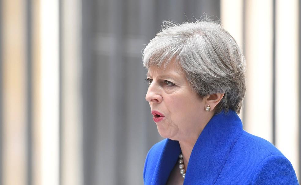 Theresa May faz pronunciamento após eleições gerais no Reino Unido (Foto: Reuters/Toby Melvillle/File Photo)