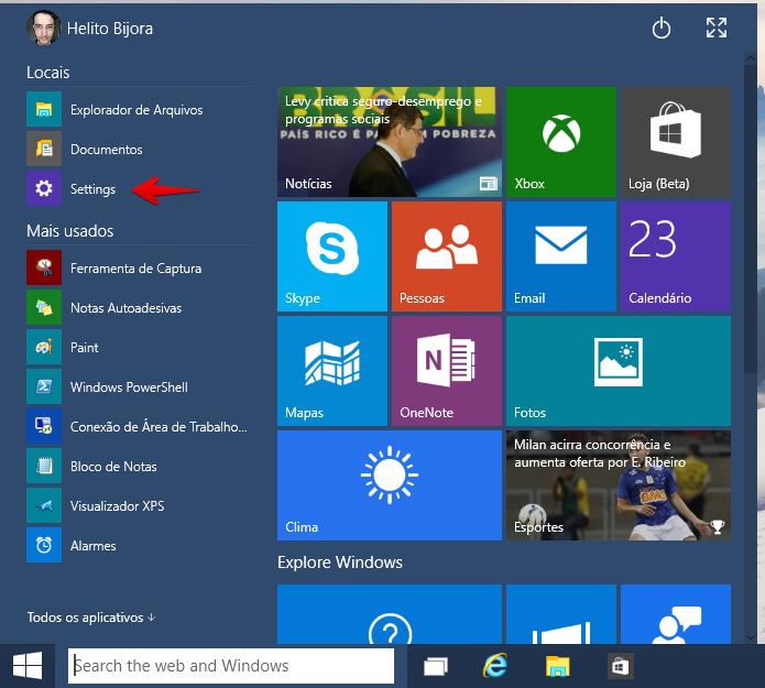 Acesse as configurações do Windows 10 (Foto: Reprodução/Helito Bijora)