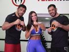Nicole Bahls tem dia de treino de luta com Minotauro e Minotouro