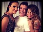 Ivete Sangalo posa com David Brazil e Elba Ramalho no Recife