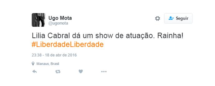 tweet liberdade2 (Foto: gshow)