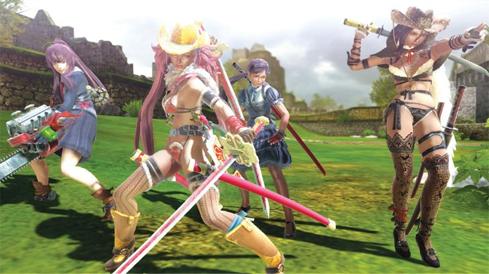 As 4 caçadoras do game oferecem alguma variedade e costumam usar pouca roupa (Foto: Divulgação/Site Oficial de Onechanbara Z2: Chaos)
