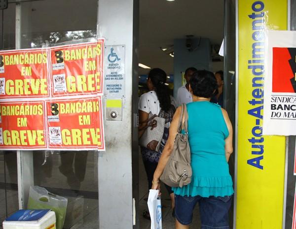 Greve dos bancários completa nove dias com 95% de adesão no MA. (Foto: Biné Morais/O Estado)