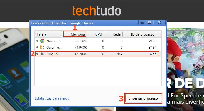 Finalizando um processo no Gerenciador de tarefas do Chrome (Foto: Reprodução/Edivaldo Brito)