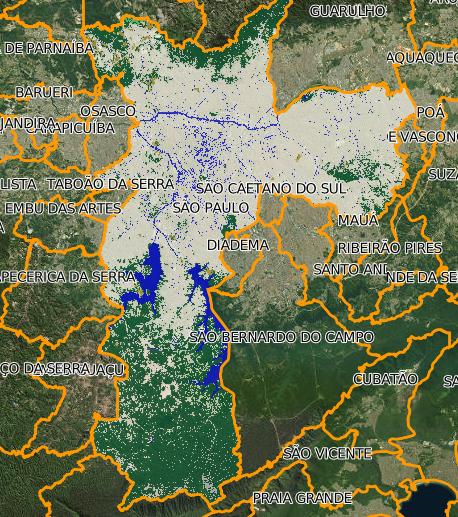 Imagem com as florestas no município de São Paulo marcadas em verde pelo MapBiomas (Foto: MapBiomas)