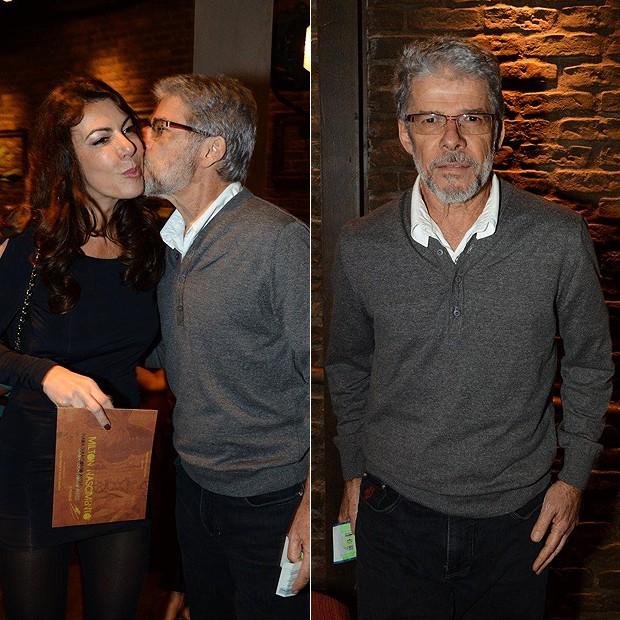 O ator se encontrou com a amiga Claudia Lira (Foto: Fabio Cordeiro/Revista QUEM)