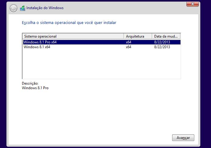 Selecionando a variante do Windows 8 a ser instalada (Foto: Reprodução/Edivaldo Brito)