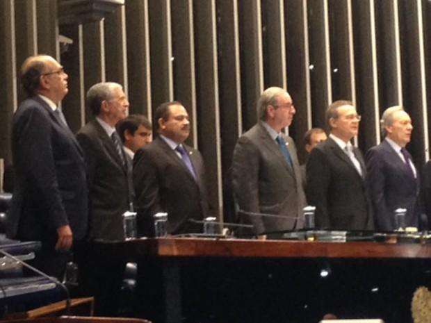 Ministros do STF e presidentes da Câmara e do Senado participaram da promulgação da PEC da Bengala (Foto: Nathalia Passarinho/G1)
