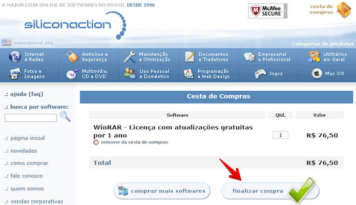 Finalizando compra do WinRAR (Foto: Reprodução/Helito Bijora)