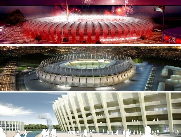 MONTAGEM - Projetos estádios castelão mineirão e beira-rio (Foto: Divulgação)