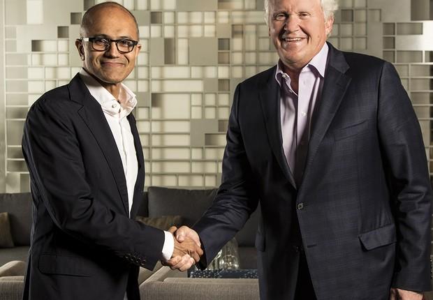 Satya Nadella e Jeff Immelt comemoram o projeto conjunto (Foto: Microsoft)